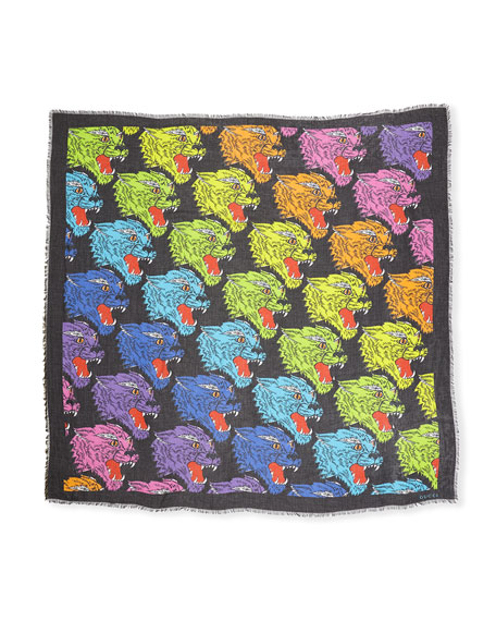 Rainbow Feline Modal-Silk Shawl