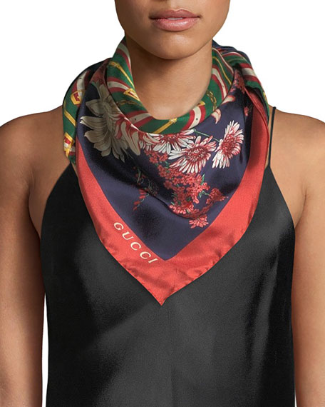 Gucci GG Chain & Bouquet Print Silk Scarf