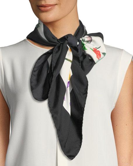 Floral-Print Silk Scarf