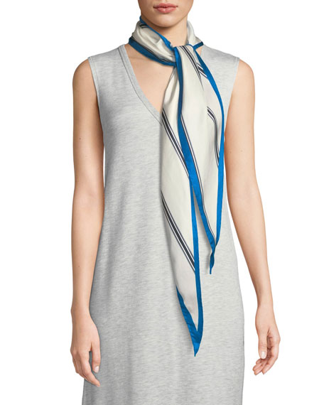 Narrow Striped Silk Scarf