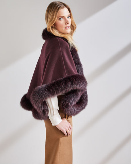 Luxury Cashmere Fox Fur-Trim Cape