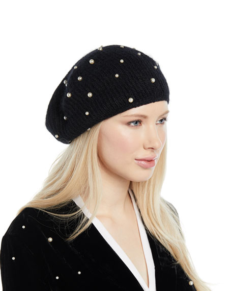 Coco Mohair-Blend Beret W/ Pearly Swarovski Crystals, Black