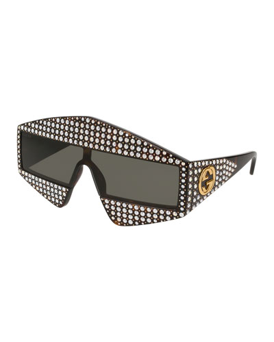 Crystal & Studded Rectangle Acetate Sunglasses