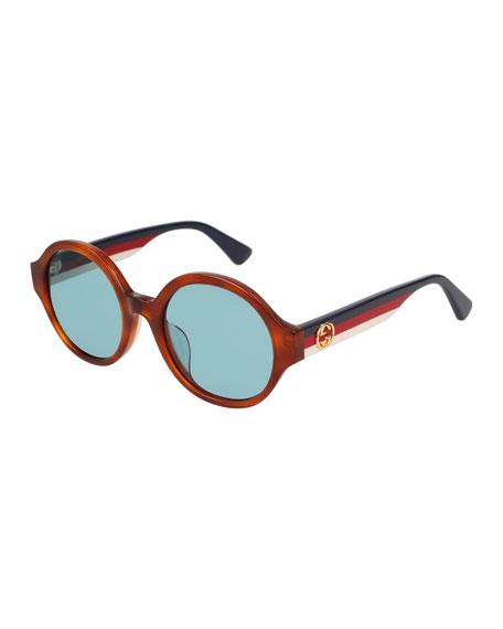 Round Striped-Arm Sunglasses, Havana