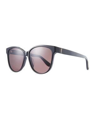 f0196540e8e Saint Laurent Mirrored Cat-Eye Acetate Sunglasses