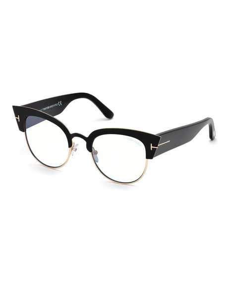 Alexandra Cat-Eye Metal & Acetate Optical Frames in Black/ Clear