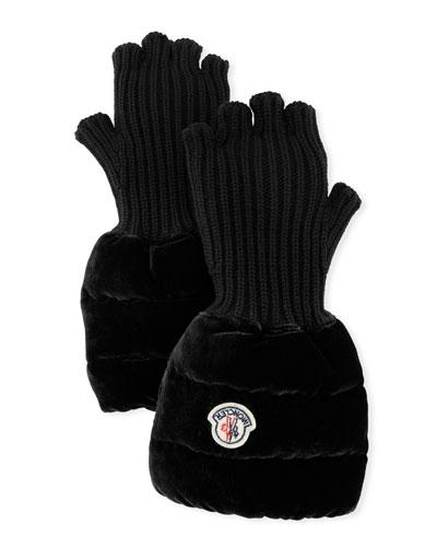 Fingerless Ribbed Wool Gloves w/Velvet Puffer Combo