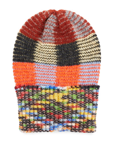Multicolored Check Knit Hat