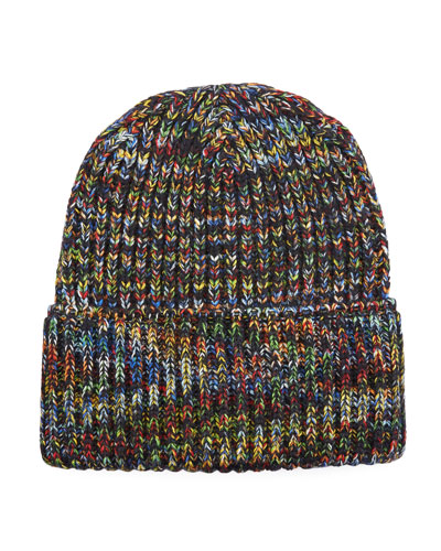 Multicolored Rib-Knit Beanie Hat