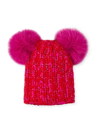Mimi Metallic Knit Beanie Hat w/ Fur Pompoms