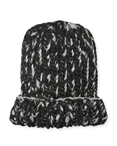 Elaine Two-Tone Metallic Knit Hat