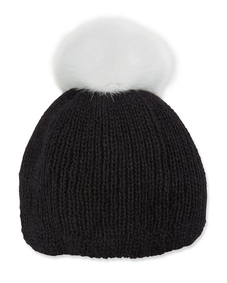 Rochelle Ribbed Beanie Hat W/ Fur Pompom in Black