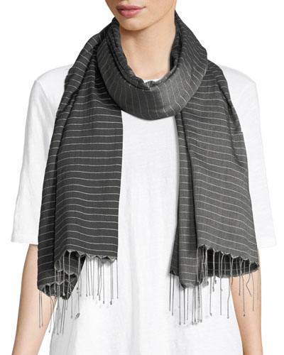 Hand-Loomed Pinstriped Scarf
