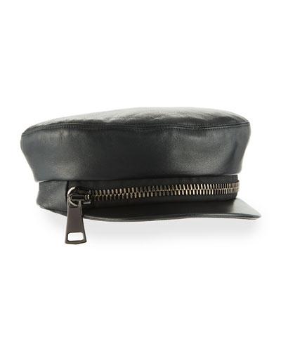 Marina Leather Zip Newsboy Hat