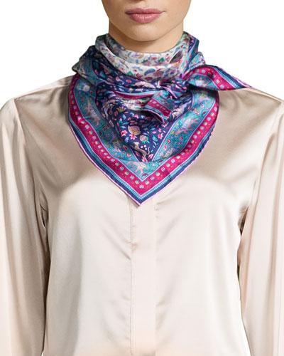 Imran Framed Floral Silk Scarf