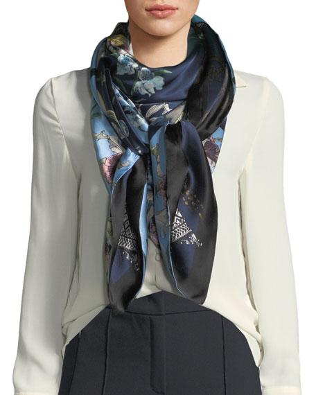 ST. PIECE Ingrid/Imogen Double-Sided Floral Silk Scarf in Black/Blue