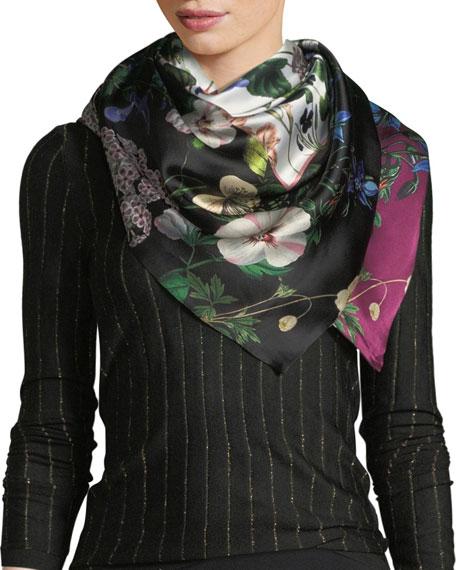ST. PIECE Irene Double-Sided Silk Scarf in Purple/Black