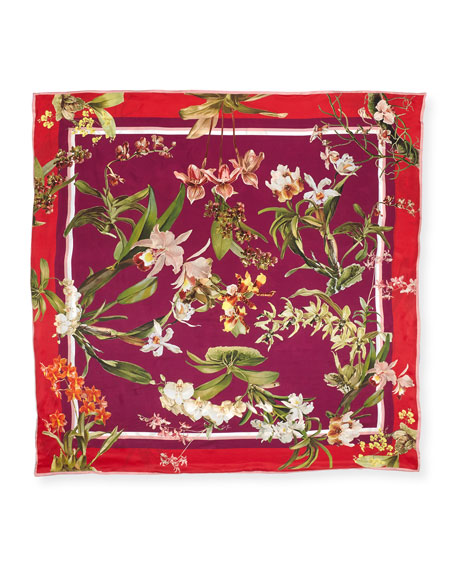 Imelda Double-Sided Silk Floral Scarf