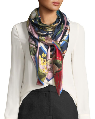 Imelda Double-Sided Silk Floral Scarf