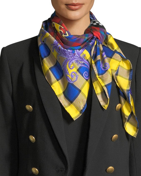 Versace Collection Square Plaid Silk Foulard Scarf with