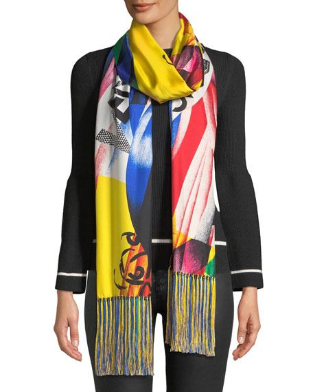 Versace Collection Clash-Print Silk Scarf w/ Tassel Ends