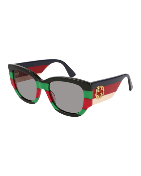 Gucci Dual-Striped Oversized Rectangle Sunglasses