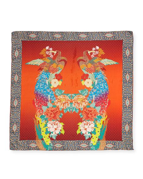 Peacock Silk Twill Scarf