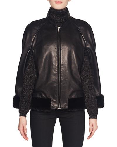 Leather Zip-Front Cape Jacket w/ Mink Fur Trim