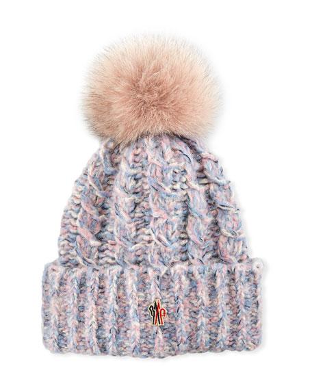 Tweed Beanie w/ Fur Pompom