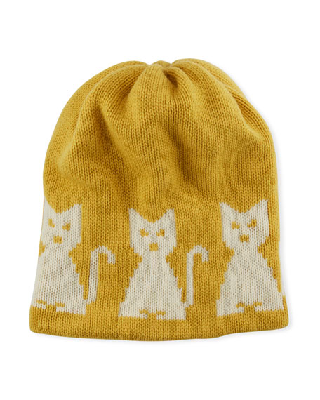 Wool-Cashmere Cat-Intarsia Beanie Hat