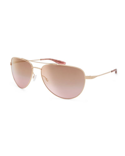 Five-Star Mirrored Aviator Sunglasses, Rose Gold