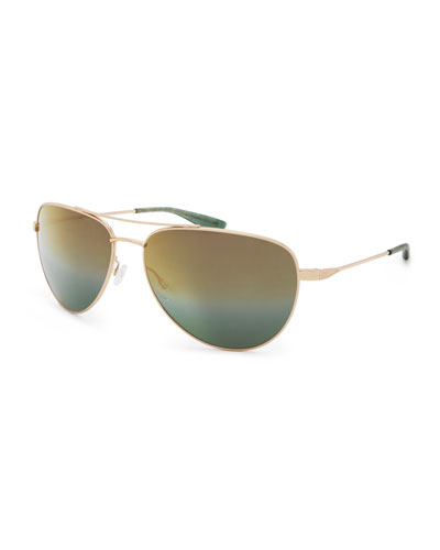 Five-Star Mirrored Aviator Sunglasses, Bottle Green/Gold