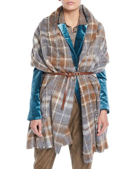 Blanket Plaid Cape w/ Leather Belt and Paillettes