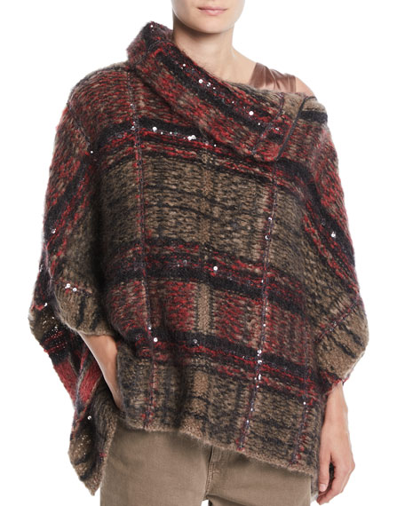 Zip-Neck Paillettes Tartan Mohair Poncho Sweater