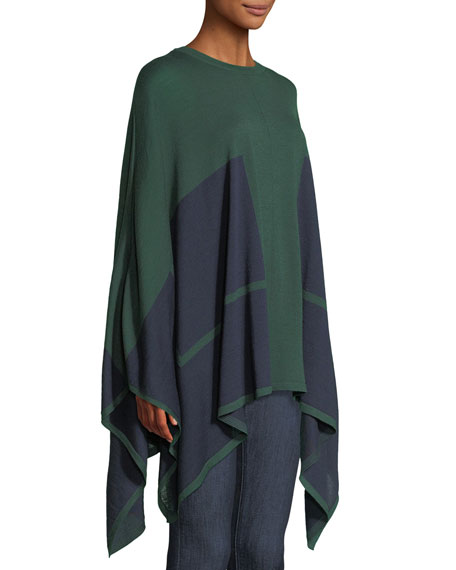 Bicolor Wool-Silk Knit Poncho w/ Underpinning 2-Way