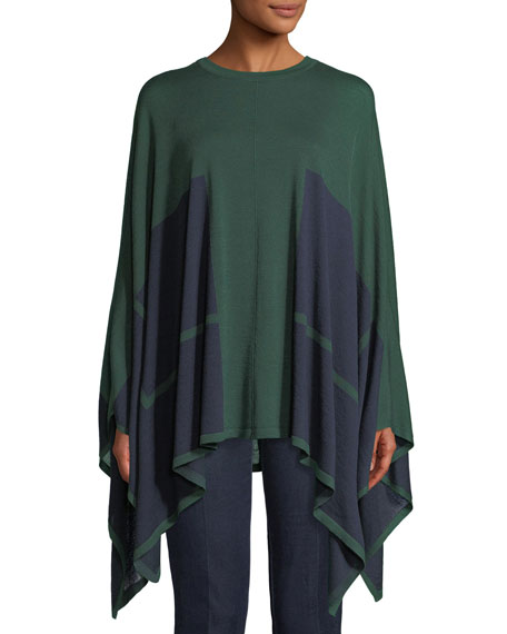 PIAZZA SEMPIONE Bicolor Wool-Silk Knit Poncho W/ Underpinning 2-Way in Blue/Green
