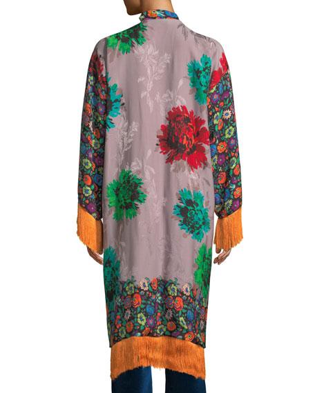 Multicolor Floral-Print Fringe Robe