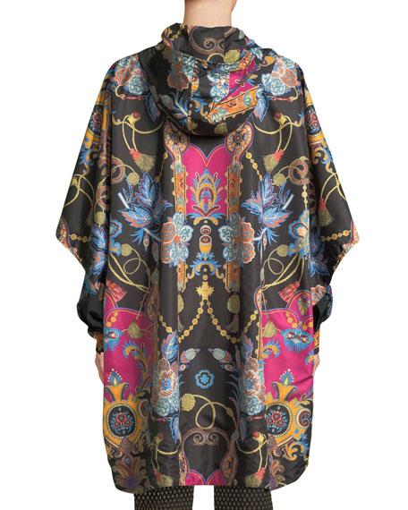 Hooded Zip-Front Dolman-Sleeve Paisley-Print Nylon Poncho Jacket