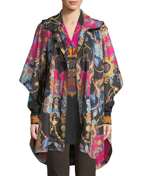 Etro Hooded Zip-Front Dolman-Sleeve Paisley-Print Nylon Poncho