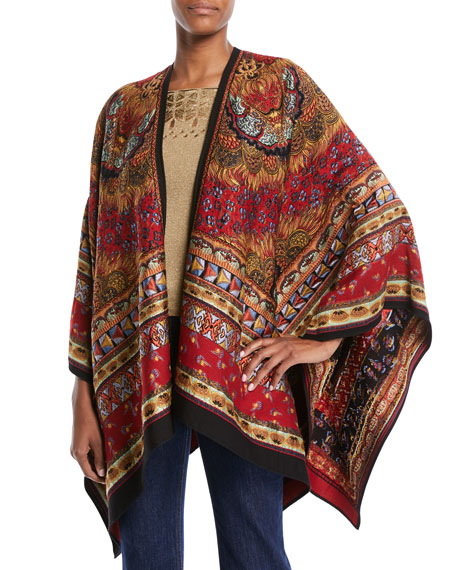 Etro Tapestry-Jacquard Open-Front Cape and Matching Items &