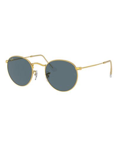 Round Monochromatic Metal Sunglasses, Pink