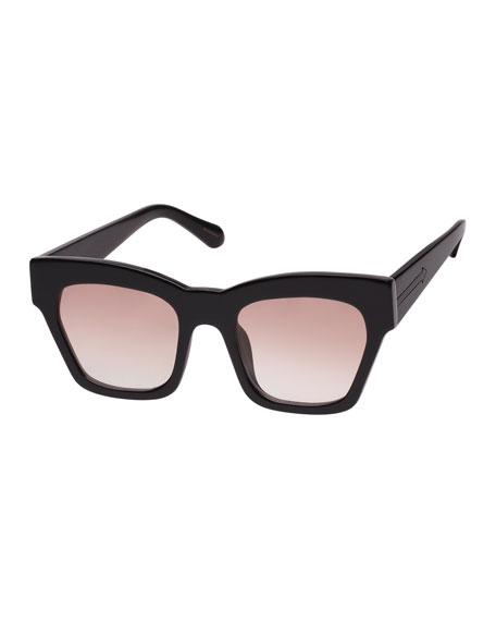 Treasure 52Mm Cat Eye Sunglasses - Shiny Black/ Brown