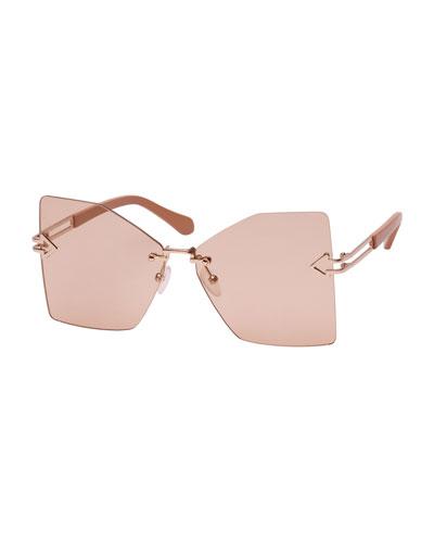 Wanderlust Rimless Butterfly Sunglasses