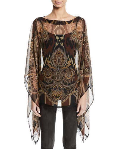 Damask-Print Sheer Silk Poncho w/ Lace Hem