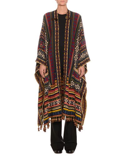 Multi-Print Wool-Blend Poncho w/ Fringe & Buckle