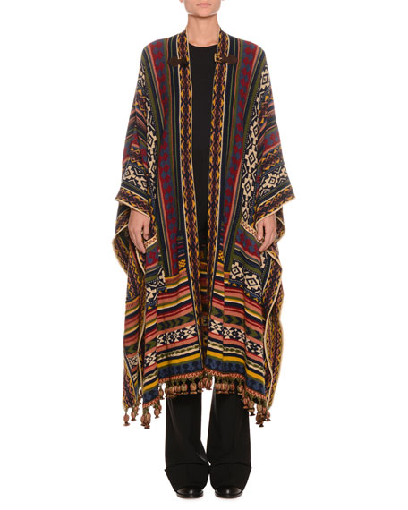 Multi-Print Wool-Blend Poncho w/ Fringe & Buckle