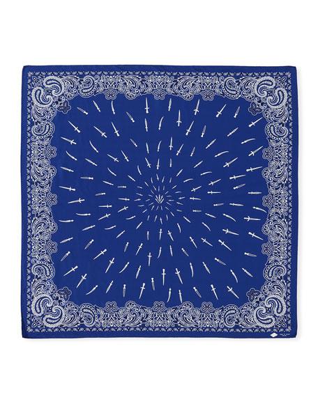 Dagger-Print Silk Bandana Scarf