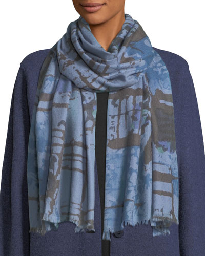 Wool-Silk Abstract-Print Scarf