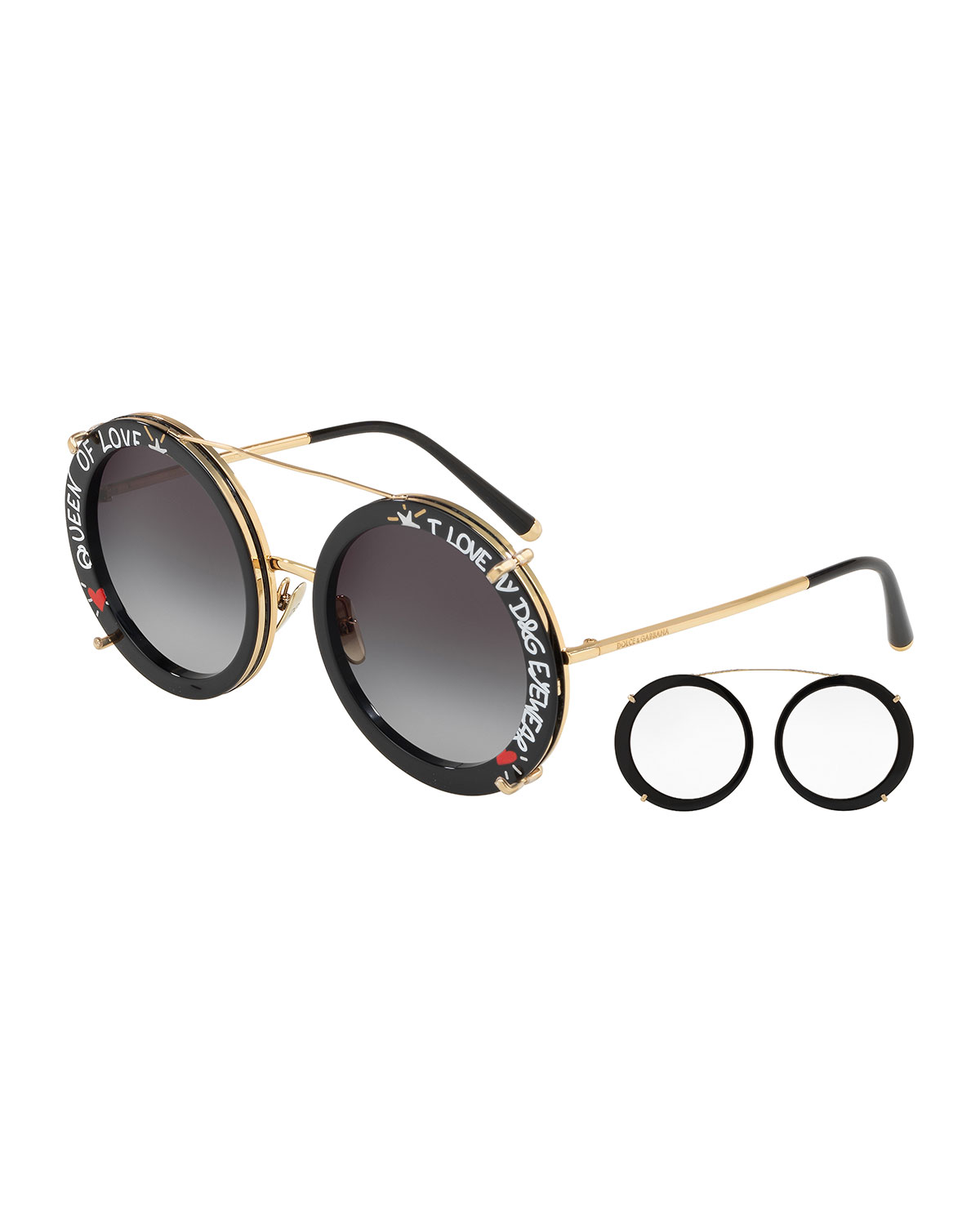 8ab464242ef Dolce   Gabbana Round Clip-On Front Metal Sunglasses