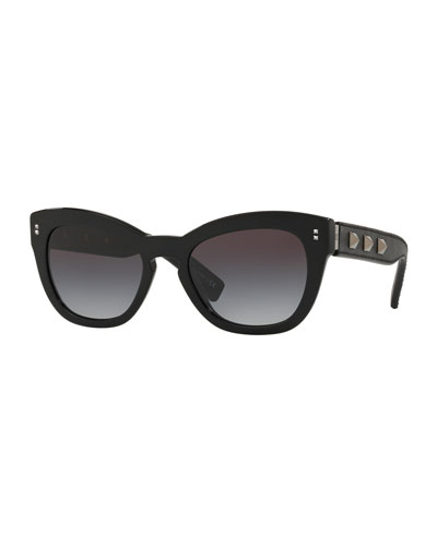 b65655b714c Gradient Butterfly Acetate Sunglasses w  Rockstud Trim